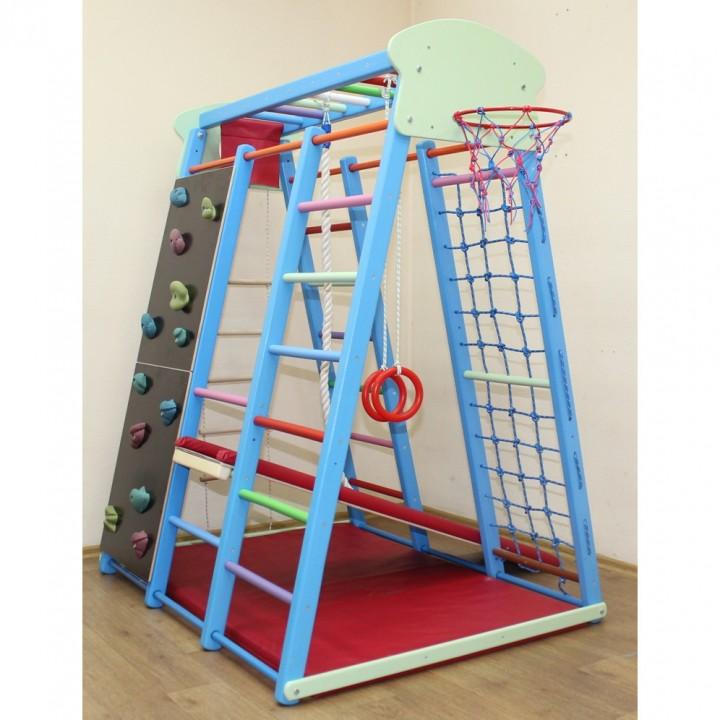 Детский спортивный комплекс Plastep Баскет-8 со скалодромом