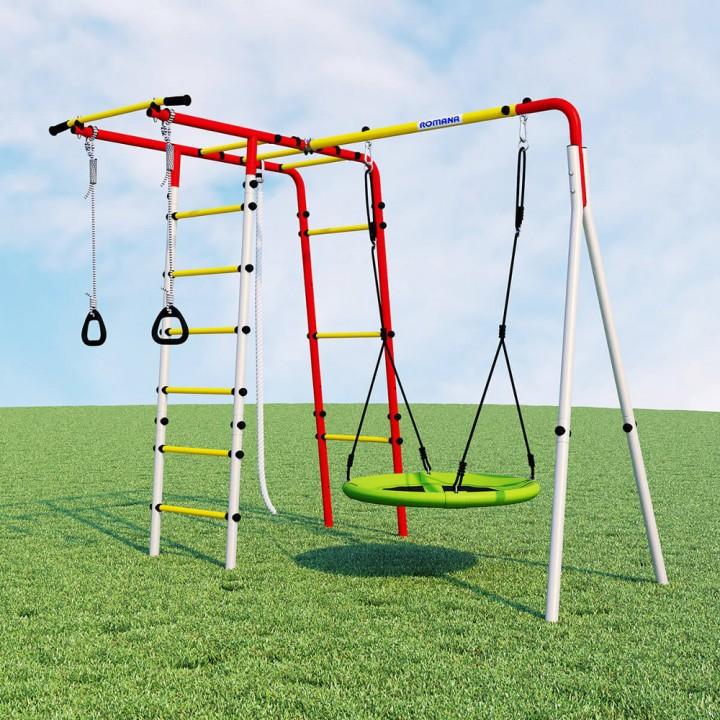 Детский спортивный комплекс для дачи ROMANA Лесная поляна-3 качели гнездо