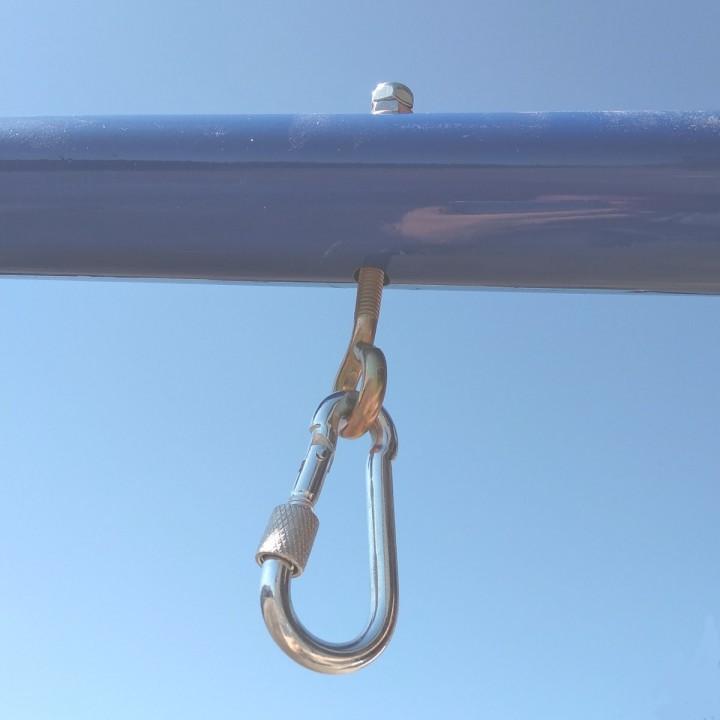 Болт с кольцом для подвеса и карабин с муфтой 6 мм