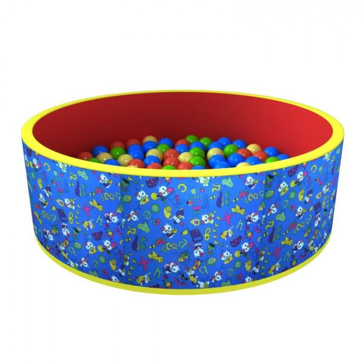 Сухой бассейн ROMANA Веселая поляна син-кр 100 шариков