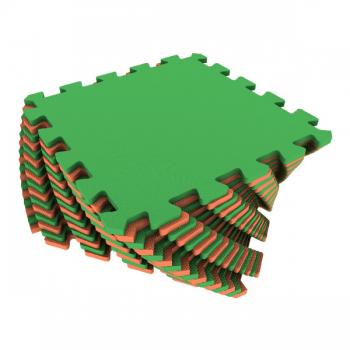 Коврик-пазл Экополимеры оранжевый-зеленый 25х25 16шт