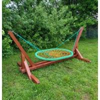 Качели-гамак на деревянном каркасе гнездо 100х140 см