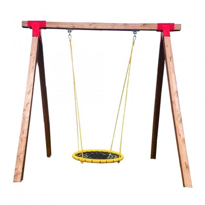 Уличные качели гнездо ХИТ 100 см на деревянном каркасе до 200 кг