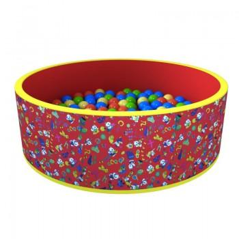 Сухой бассейн ROMANA Веселая поляна красный 100 шариков