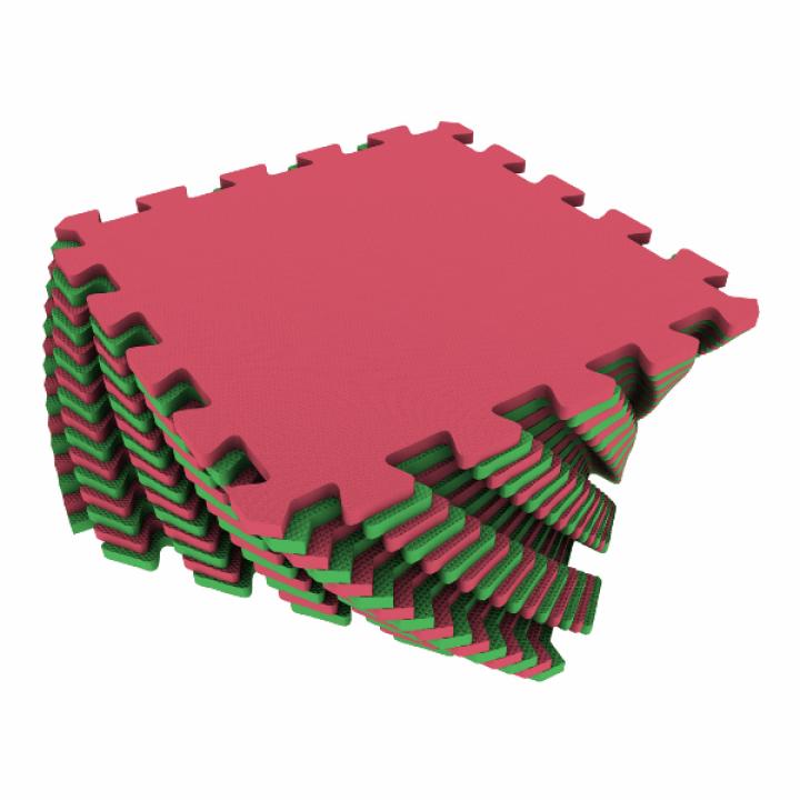 Коврик-пазл Экополимеры красный-зеленый 25х25