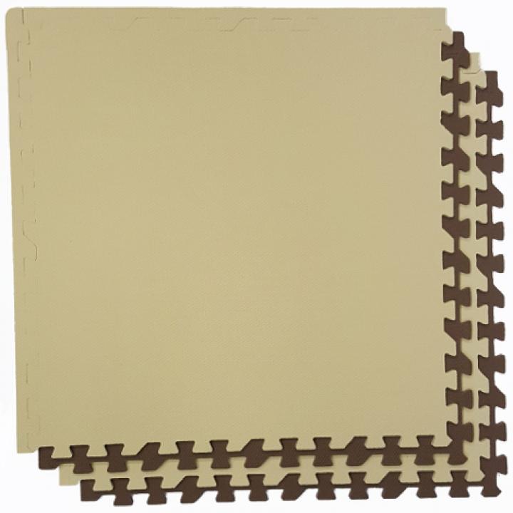 Модульное покрытие с кромками Экополимеры бежевый-коричневый 60х60 4шт